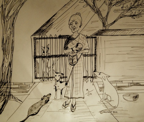 An illustration of Amma with her dogs. Art by Monami